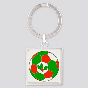 Soccer Christmas Decoration Square Keychain