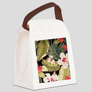 blackhibiscusorchidipadsleeve Canvas Lunch Bag