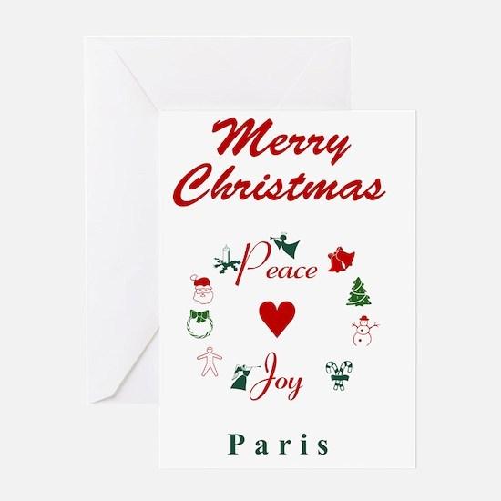 Paris_5x7_Christmas Stocking_PeaceLo Greeting Card