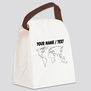 Custom World Map Canvas Lunch Bag