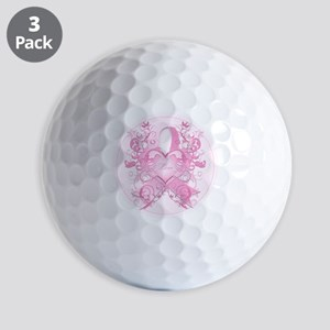 PinkRibLoveSwirlRpTR Golf Balls