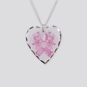 PinkRibLoveSwirlRpTR Necklace Heart Charm