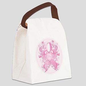 PinkRibLoveSwirlRpTR Canvas Lunch Bag