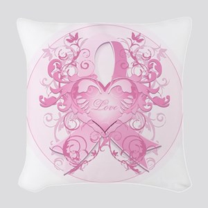 PinkRibLoveSwirlRpTR Woven Throw Pillow