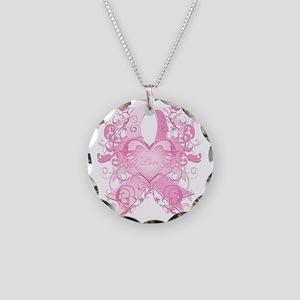 PinkRibLoveSwirlTRs Necklace Circle Charm