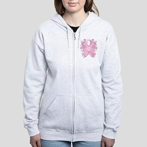 PinkRibLoveSwirlTRs Women's Zip Hoodie
