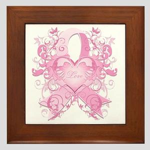 PinkRibLoveSwirlTRs Framed Tile