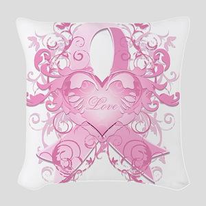 PinkRibLoveSwirlTRs Woven Throw Pillow