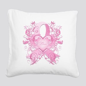 PinkRibLoveSwirlTRs Square Canvas Pillow