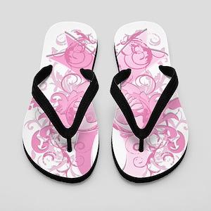 PinkRibLoveSwirlTRs Flip Flops
