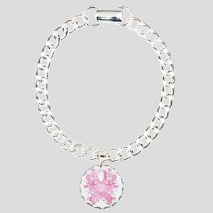 PinkRibLoveSwirlTRs Charm Bracelet, One Charm