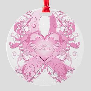PinkRibLoveSwirlTRs Round Ornament