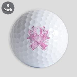 PinkRibLoveSwirlTRs Golf Balls