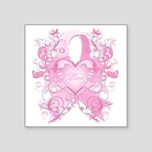 "PinkRibLoveSwirlTRs Square Sticker 3"" x 3"""