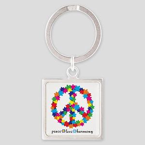 FlowerPeace Square Keychain