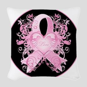 PinkRibLoveSwirlRbTR Woven Throw Pillow