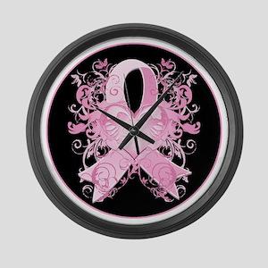 PinkRibLoveSwirlRbTR Large Wall Clock