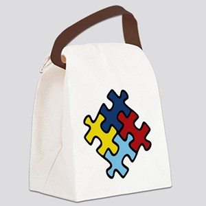 Autism Puzzle Canvas Lunch Bag