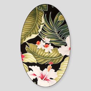 blackhibiscusorchidkindlesleeve Sticker (Oval)