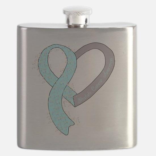 new heart ribbon LT BLUE Flask