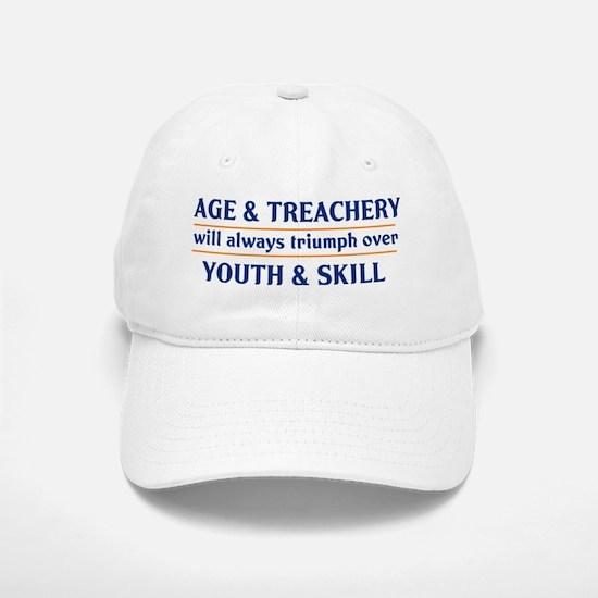 age and treachery youth and skill lights Baseball Baseball Cap