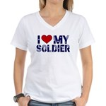 I heart love my Soldier Army Women's V-Neck T-Shir