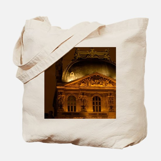 France, Paris, the Louvre Museum at night Tote Bag