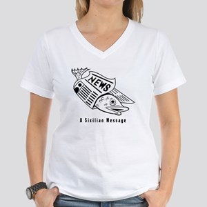 Sicilian Message - outside Women's V-Neck T-Shirt