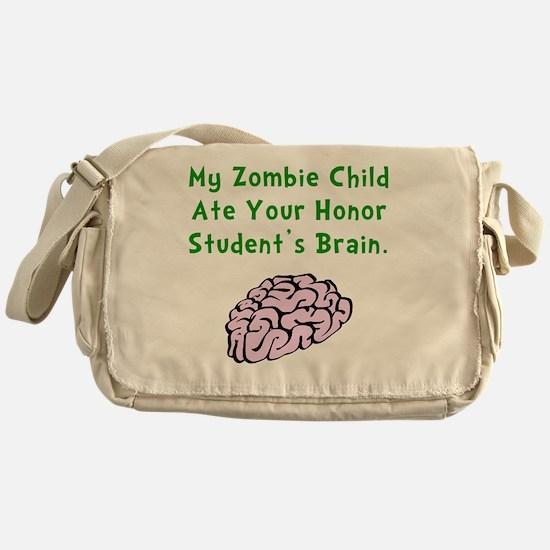 Zombie Child Brain Green Messenger Bag