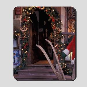 EU, France, Saverne, Christmas decoratio Mousepad