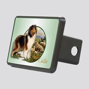 collie with sheep adjusted Rectangular Hitch Cover