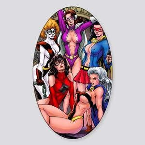 babes-pin-up-color 2 Sticker (Oval)
