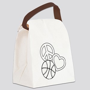 P,L,Basketball, white Canvas Lunch Bag