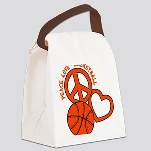 P,L,Basketball, neon orange Canvas Lunch Bag