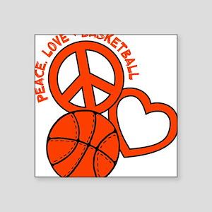 """P,L,Basketball, neon orange Square Sticker 3"""" x 3"""""""