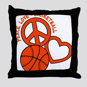 P,L,Basketball, neon orange Throw Pillow