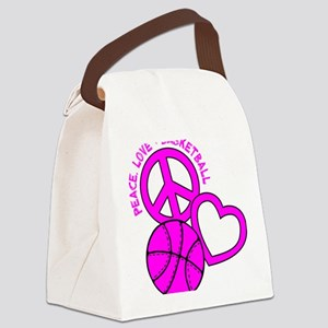P,L,Basketball, hot pink Canvas Lunch Bag