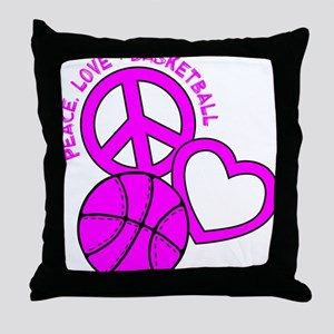 P,L,Basketball, hot pink Throw Pillow