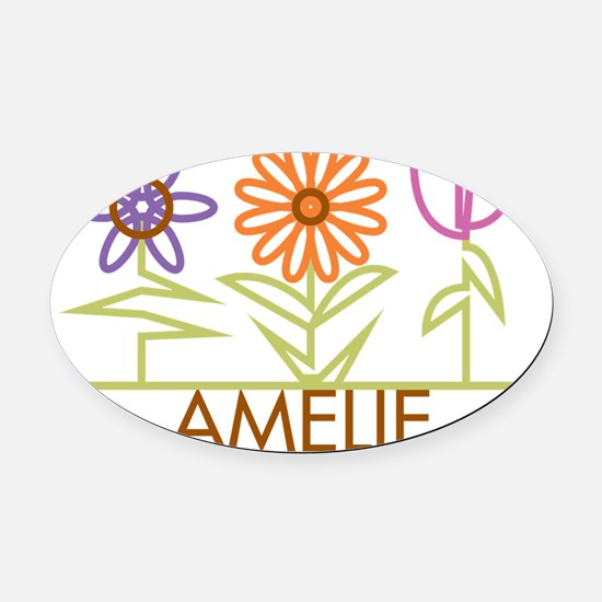 AMELIE-cute-flowers Oval Car Magnet