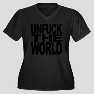 unfuckthewor Women's Plus Size Dark V-Neck T-Shirt