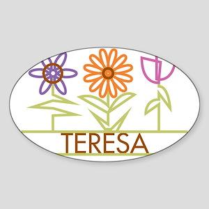 TERESA-cute-flowers Sticker (Oval)