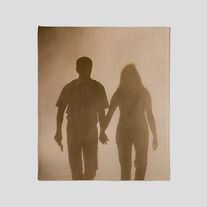 Couple walking in mist, Paris, Franc Throw Blanket