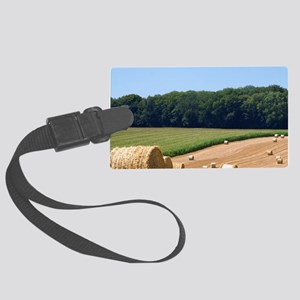 Hay bales in the french countrys Large Luggage Tag