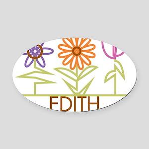 EDITH-cute-flowers Oval Car Magnet