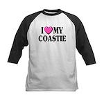 I Love ( Heart ) My Coastie Kids Baseball Jersey