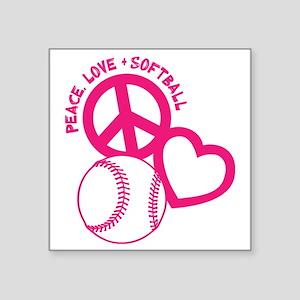 "P,L,Softball, melon Square Sticker 3"" x 3"""