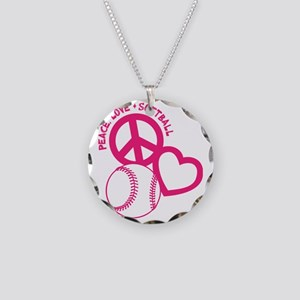 P,L,Softball, melon Necklace Circle Charm