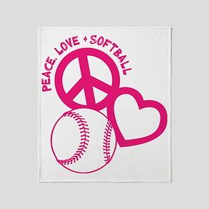 P,L,Softball, melon Throw Blanket