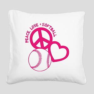 P,L,Softball, melon Square Canvas Pillow