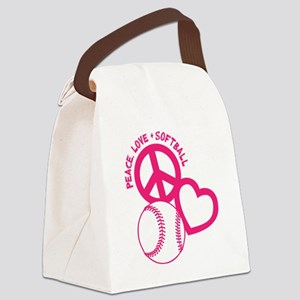 P,L,Softball, melon Canvas Lunch Bag